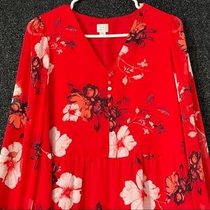 A New Day Long Sleeve Red Floral Dress